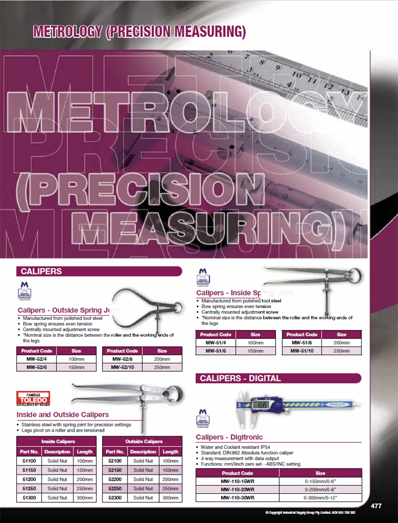 ISG Catalogue - Section 14 - Metrology